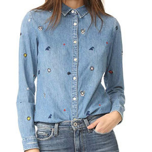 Scotch & Soda Embroidered Button-Down Denim Shirt